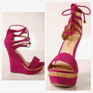 Magenta tie up wedge heels